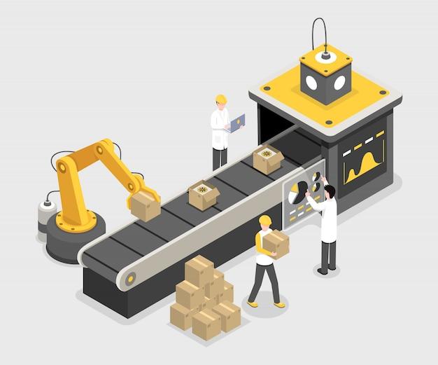 Autonomer verpackungsprozess, endmontage. stapelboxen mit robotertechnologie Premium Vektoren