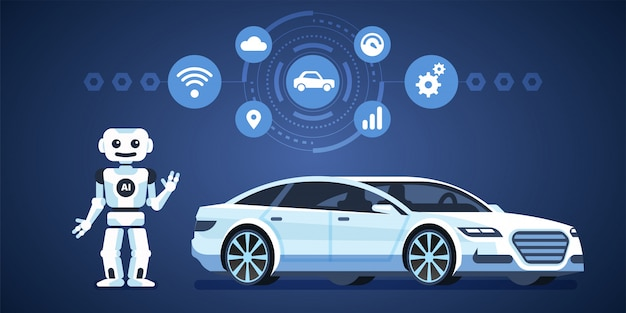 Autonomes auto. selbstfahrendes auto mit roboter und symbolen. künstliche intelligenz unterwegs. infografiken illustration Premium Vektoren
