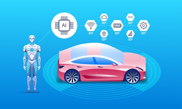 Autonomes fahrzeug mit roboter Premium Vektoren