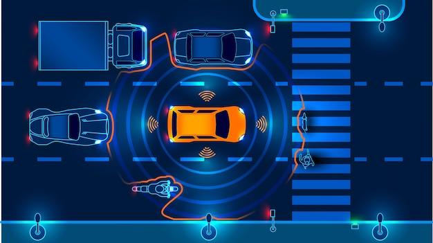 Autonomes smartes auto fährt im verkehr. scannt die straße, beobachtet die entfernung Premium Vektoren