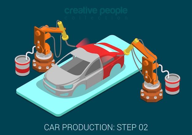 Autoproduktionsanlage prozessschrittlackierung automatischer roboter arbeitet flach isometrische infografik konzept illustration. sprühlackroboter in der montagewerkstatt. Kostenlosen Vektoren