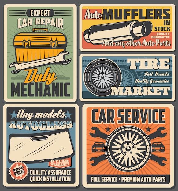 Autoradreifen, autoersatzteile, mechanischer werkzeugkasten Premium Vektoren