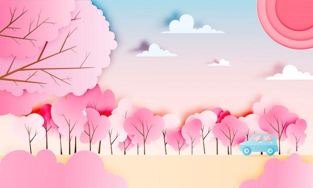 Autoreise mit jahreszeit des autos im frühjahr und natürliches pastellfarbschemahintergrundpapier schnitt artvektorillustration Premium Vektoren