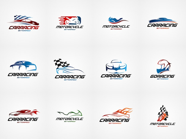 Autorennen design logo vorlage Premium Vektoren