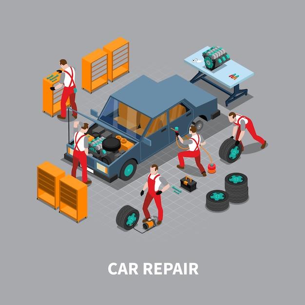 Autoreparatur auto center isometrische zusammensetzung Kostenlosen Vektoren