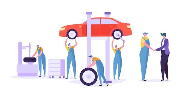 Autoreparatur autowerkstatt. professionelle mechanikercharaktere in einheitlich wechselnden reifen. konzept der technischen wartung von kraftfahrzeugen. Premium Vektoren