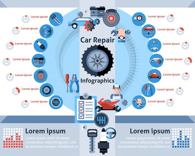 Autoreparatur infografiken set Kostenlosen Vektoren