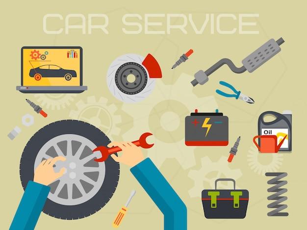 Autoreparatur-service-center-konzept Premium Vektoren