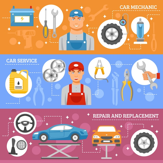 Autoreparatur-service-flache fahnen eingestellt Kostenlosen Vektoren