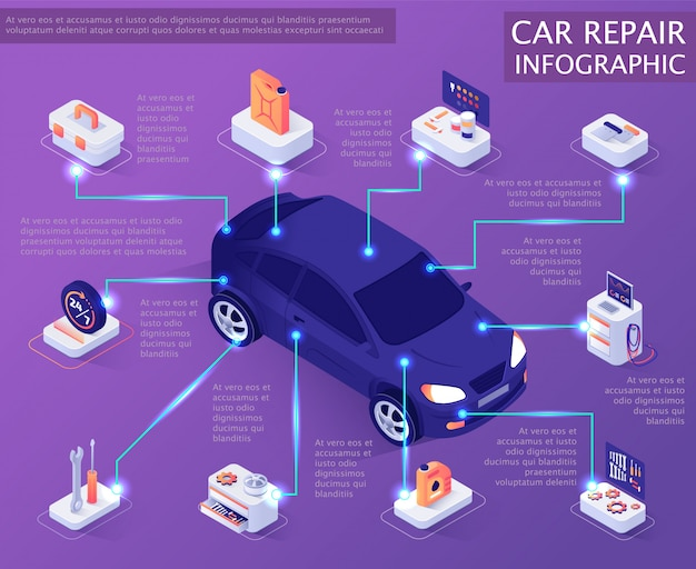 Autoreparatur-service infographik banner Premium Vektoren