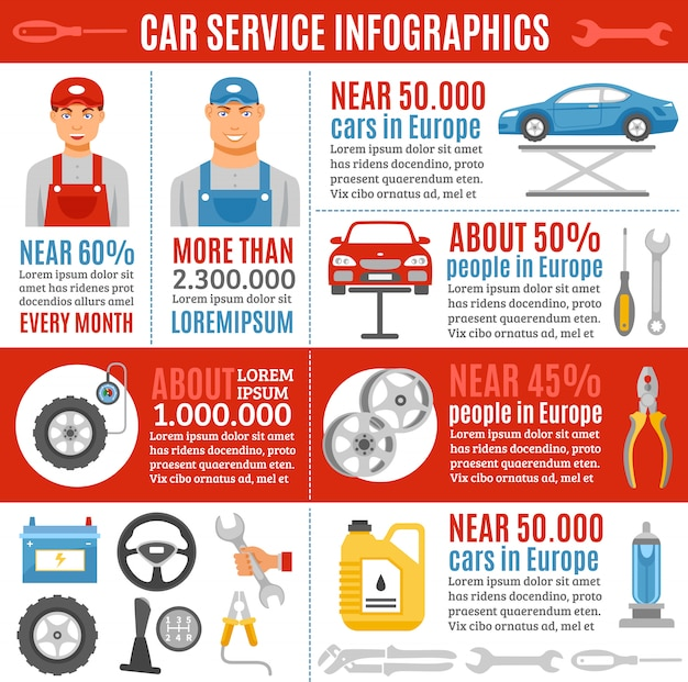 Autoreparatur-service-wohnung infographik banner Kostenlosen Vektoren