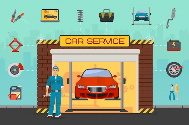 Autoreparatur-servicecenter Premium Vektoren