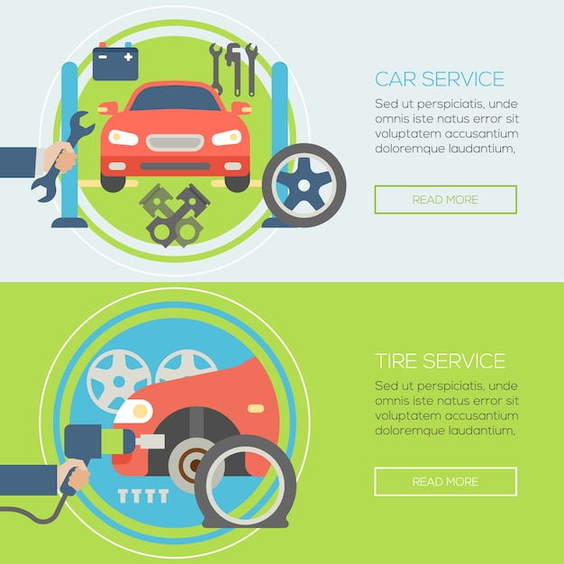 Autoreparaturservice-fahnenschablone Premium Vektoren