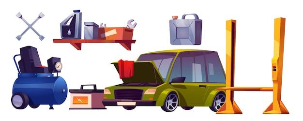 Autoreparaturservice und automobilvektorsatz Kostenlosen Vektoren