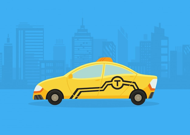 Autos auf dem stadtpanorama. taxi-service. gelbes taxi. taxianwendung, stadtsilhouette mit wolkenkratzern und türmen. Premium Vektoren