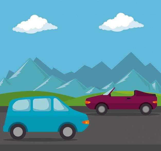 Autos fahrzeuge transportieren szene Kostenlosen Vektoren