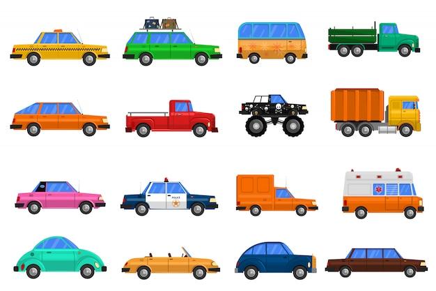 Autos icons set Kostenlosen Vektoren