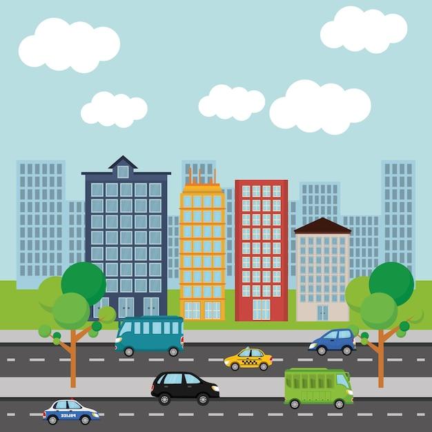 Autos in der stadt Premium Vektoren
