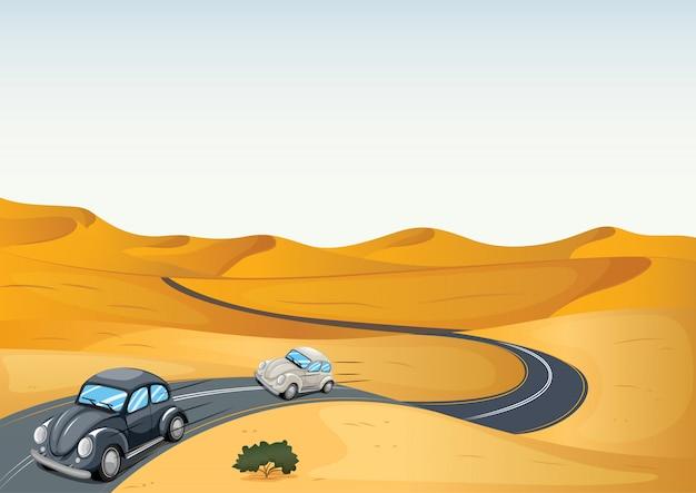 Autos in der wüste Kostenlosen Vektoren