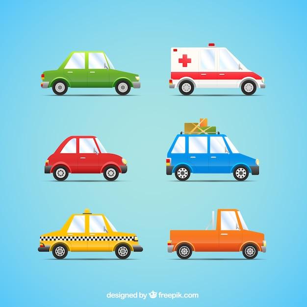 Autos sammlung im cartoon-stil Kostenlosen Vektoren