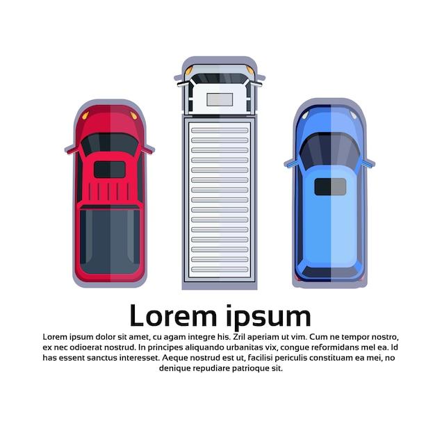 Autos und lkw auf weißem getrennt Premium Vektoren