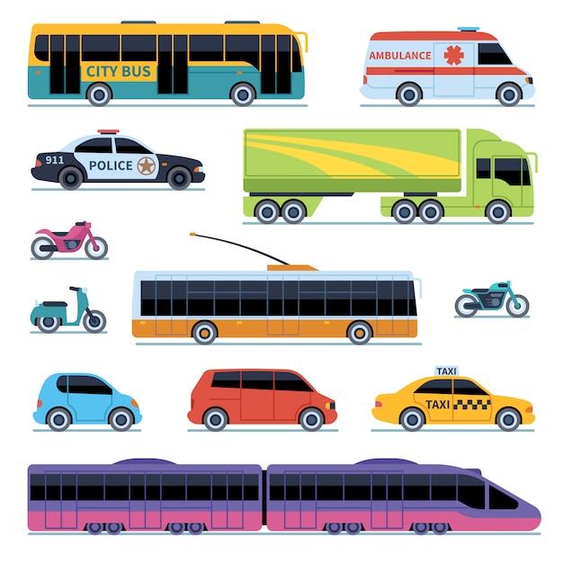 Autosammlung. fahrzeuge stadtverkehr. autos, motorroller motorrad. seitenansicht städtisches automatisch isoliertes set Premium Vektoren