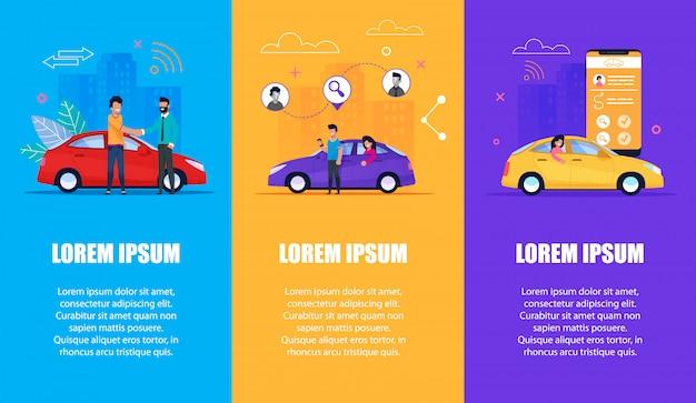 Autoservice-vertikaler fahnensatz Premium Vektoren