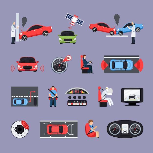 Autosicherheitssysteme icons set Kostenlosen Vektoren
