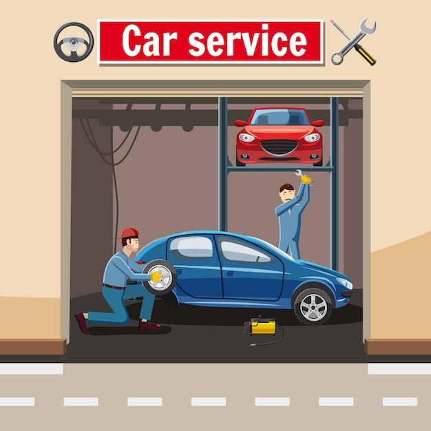 Autotankstellekonzept, karikaturart Premium Vektoren