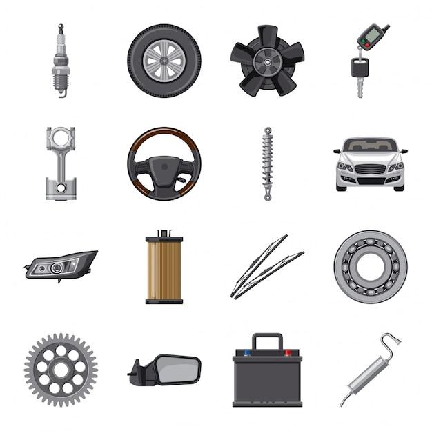 Autoteil cartoon-icon-set. Premium Vektoren