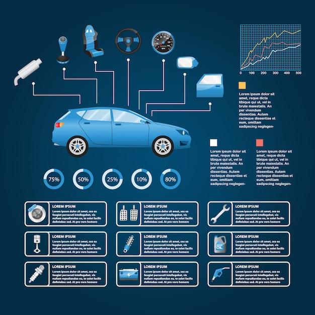 Autoteil und zubehör vector infografik Premium Vektoren