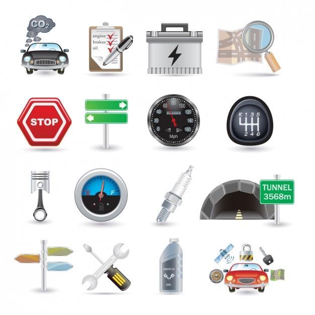 Autoteile icon collection Kostenlosen Vektoren