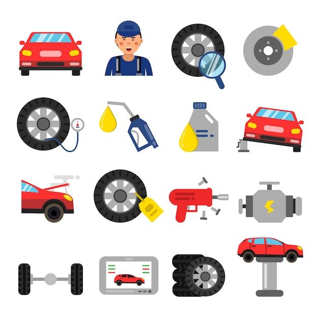 Autoteile. räder- und reifenservice von autos. vektorbilder im flachen stil Premium Vektoren