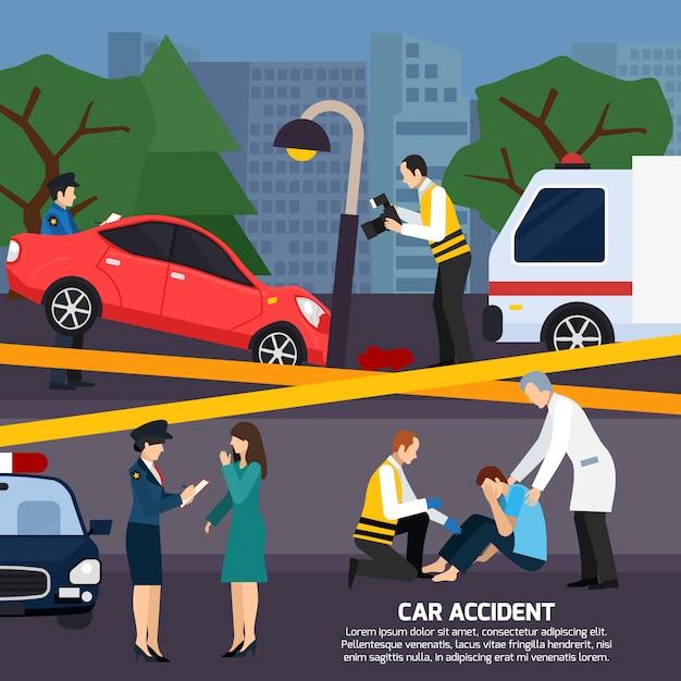 Autounfall-flache art-illustration Kostenlosen Vektoren