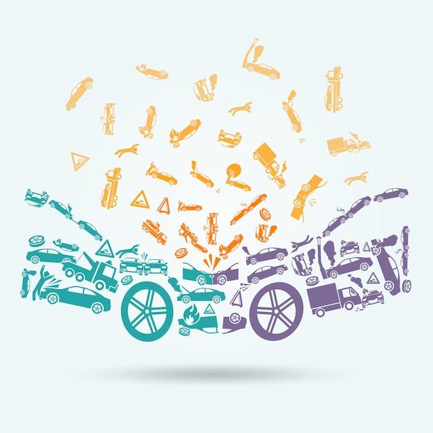 Autounfall symbole konzept Kostenlosen Vektoren