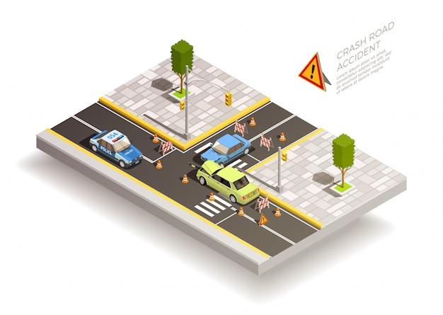 Autounfallstraße zusammensetzung Kostenlosen Vektoren