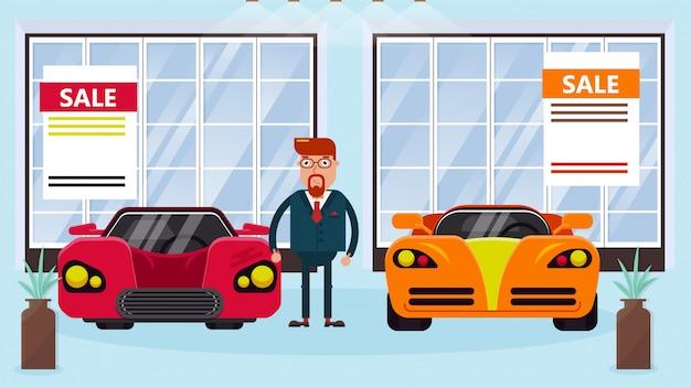Autoverkäufer manager steht zwischen autos zum verkauf Premium Vektoren
