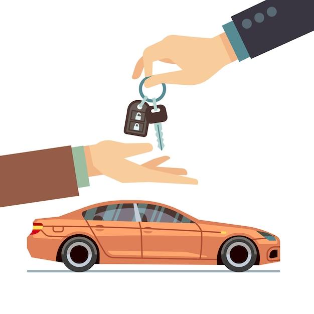 Autoverkäuferhand, die dem käufer schlüssel gibt. autogeschäft kaufen oder mieten Premium Vektoren