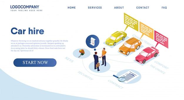 Autovermietung, miete wählen sie das beste fahrzeug für komfort. Premium Vektoren