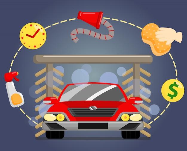 Autowäsche illustration Premium Vektoren