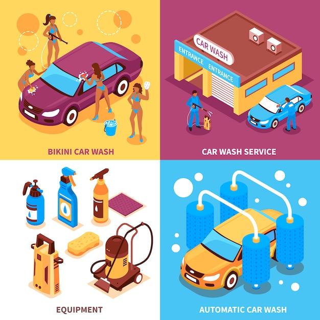 Autowäsche-isometrisches konzept des entwurfes Kostenlosen Vektoren