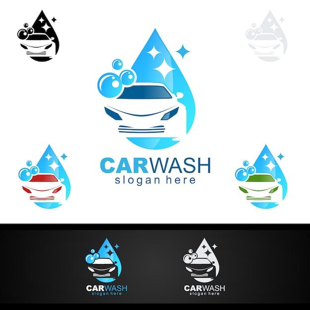 Autowäsche-logo Premium Vektoren