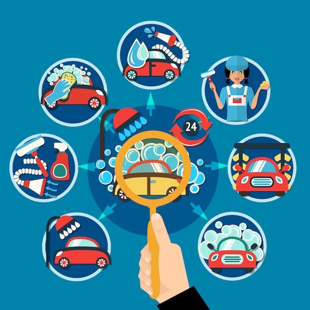 Autowäsche-vergrößerungsglas-konzept Kostenlosen Vektoren