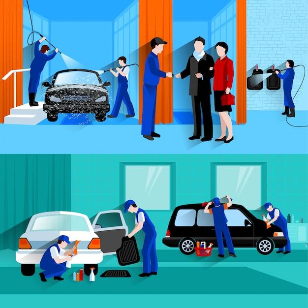 Autowasch-full-service-center 2 flache banner mit kunden- und wasserfreiem detailer-spray Kostenlosen Vektoren