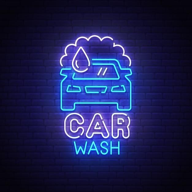 Autowasch-leuchtreklame Premium Vektoren