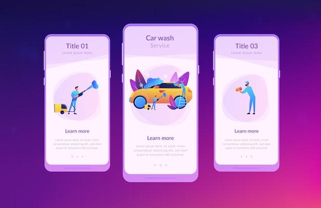 Autowaschservice-app-schnittstellenschablone Premium Vektoren