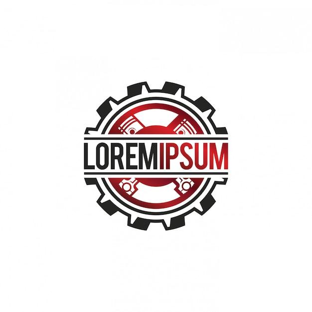 Autowerkstatt mit getriebe und kolben logo Premium Vektoren