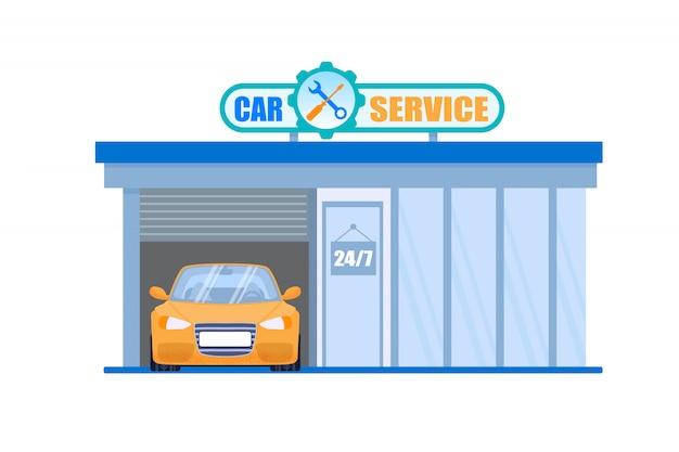 Autowerkstatt und wartung 24-stunden-maschinenprüf- und reparaturstation Premium Vektoren