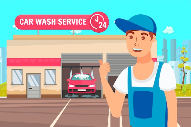 Autowerkstatt und waschservice-vektor-illustration Premium Vektoren