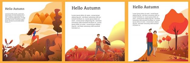 Autumn background concept set vector design Premium Vektoren